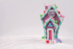 Candyland Christmas. Merry Christmas and Happy New Year background. Colorful Candy house christmas tree decoration on white backgr Stock Image