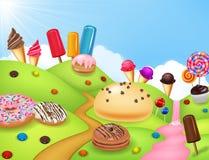 Candyland d'imagination avec des dessrts et des bonbons illustration stock