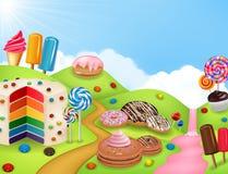 Candyland da fantasia com dessrts e doces Fotos de Stock