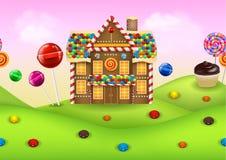 Candyland de la fantasía con la casa de pan de jengibre stock de ilustración