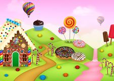 Candyland with gingerbread house. Illustration of Candyland with gingerbread house Stock Photos