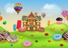 Candyland med pepparkakahuset royaltyfri illustrationer