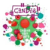Candys Berry Lolly Dessert Colorful Icon Choose Ihr Geschmack-Café-Plakat vektor abbildung