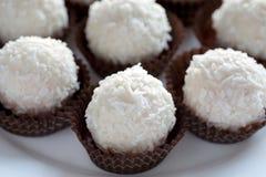Candys brancos do coco na bandeja decorativa Imagem de Stock