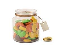 Candys de coeur sur la bouteille illustration 3D illustration stock