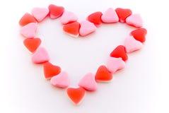 Candys a forma di del cuore del cuore Fotografie Stock Libere da Diritti