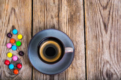 Candys i kawa espresso Fotografia Royalty Free