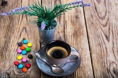 Candys i kawa espresso Zdjęcie Royalty Free