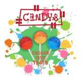 Candys Lolly Dessert Colorful Icon Choose Ihr Geschmack-Café-Plakat lizenzfreie abbildung