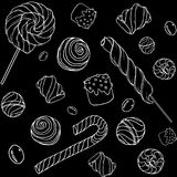 Candys pattern_black. Cute hand drawn doodle seamless pattern with candy, donuts, marshmallow  on black background. Candies sweets vector illustration Stock Images
