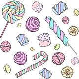 Candys pattern_color. Cute hand drawn doodle seamless pattern with candy, donuts, marshmallow  on white background. Candies sweets vector illustration Royalty Free Stock Photo