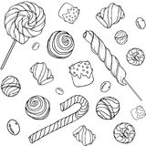 Candys pattern_white. Cute hand drawn doodle seamless pattern with candy, donuts, marshmallow  on white background. Candies sweets vector illustration Stock Image