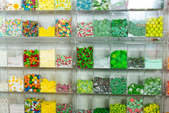 Candys and sweets different colors in supermarket stock photo