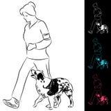 Cane ambulante del Collie di bordo dell'addestratore Fotografia Stock Libera da Diritti