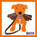 Cane arancio che tiene un guinzaglio, fumetto nel telaio, su un backg bianco Fotografie Stock Libere da Diritti
