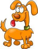Cane arancio del fumetto in collare verde Fotografia Stock Libera da Diritti