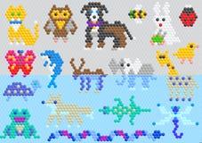 Cane astratto animale e delfino del gatto del carattere di vettore animale del mosaico nell'insieme puerile dell'illustrazione de illustrazione di stock