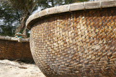 Cane basket on beach. Big cane basket on sand beach Royalty Free Stock Photos