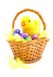 Cane basket with chocolate easter eggs Stock Images
