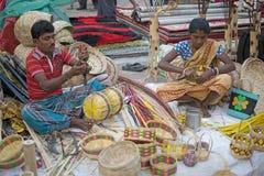 Cane baskets, handicraft items on display , Kolkata Stock Image