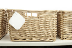 Cane baskets with notetag stock images