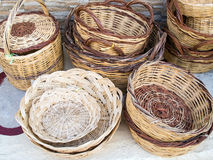 Cane baskets Stock Photos