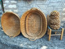 Cane Baskets and Walnuts Stock Images