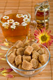 Cane brown sugar and herbal tea Stock Image