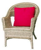 Cane Chair with Cushion Stock Images
