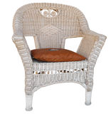 Cane Chair with Cushion Royalty Free Stock Images