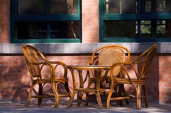 Cane chairs and cane table Royalty Free Stock Photos
