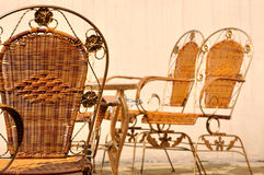Cane chairs in leisure style in court. Shown as free time chating and relax life Royalty Free Stock Photo
