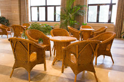 Cane chairs stock photography