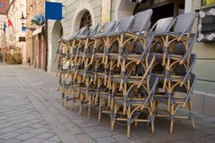 Cane chairs - outdoor restaurant Stock Photo