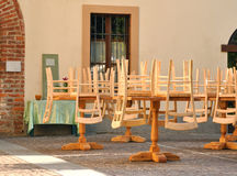 Cane chairs - outdoor restaurant Stock Image