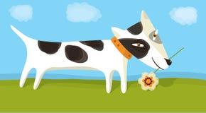 cane con il fiore Immagine Stock Libera da Diritti