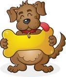 Cane con il personaggio dei cartoni animati gigante del segno dell'etichetta del collare Immagine Stock