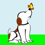 Cane con la farfalla sul naso royalty illustrazione gratis