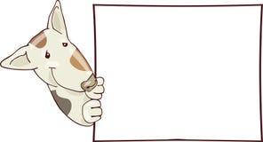Cane con la scheda Fotografia Stock