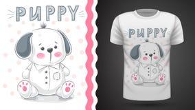 Cane, cucciolo - idea per la maglietta della stampa illustrazione di stock