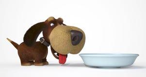 cane 3d con una ciotola Fotografie Stock Libere da Diritti