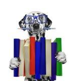 Cane dalmata sveglio che tiene una grande pila di libri -- su bianco Fotografia Stock Libera da Diritti