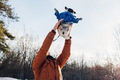 Cane del carlino che cammina con il suo padrone Uomo che getta il suo animale domestico su per il divertimento Cappotto d'uso di  immagine stock