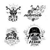 Cane del carlino del motociclista L'insieme del motociclo d'annata simbolizza, etichette, distintivi, illustrazione vettoriale