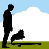 Cane del Collie di bordo con l'addestratore Fotografia Stock Libera da Diritti