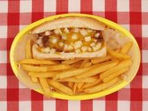 Cane del formaggio del peperoncino rosso con le fritture Immagini Stock