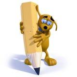 cane del fumetto 3D che tiene una matita Immagine Stock