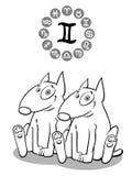 Cane del fumetto come segno di Gemini Zodiac illustrazione di stock