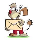 Cane del fumetto con la busta della posta Fotografia Stock
