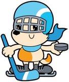 Cane del fumetto di serie piccolo che gioca hockey royalty illustrazione gratis